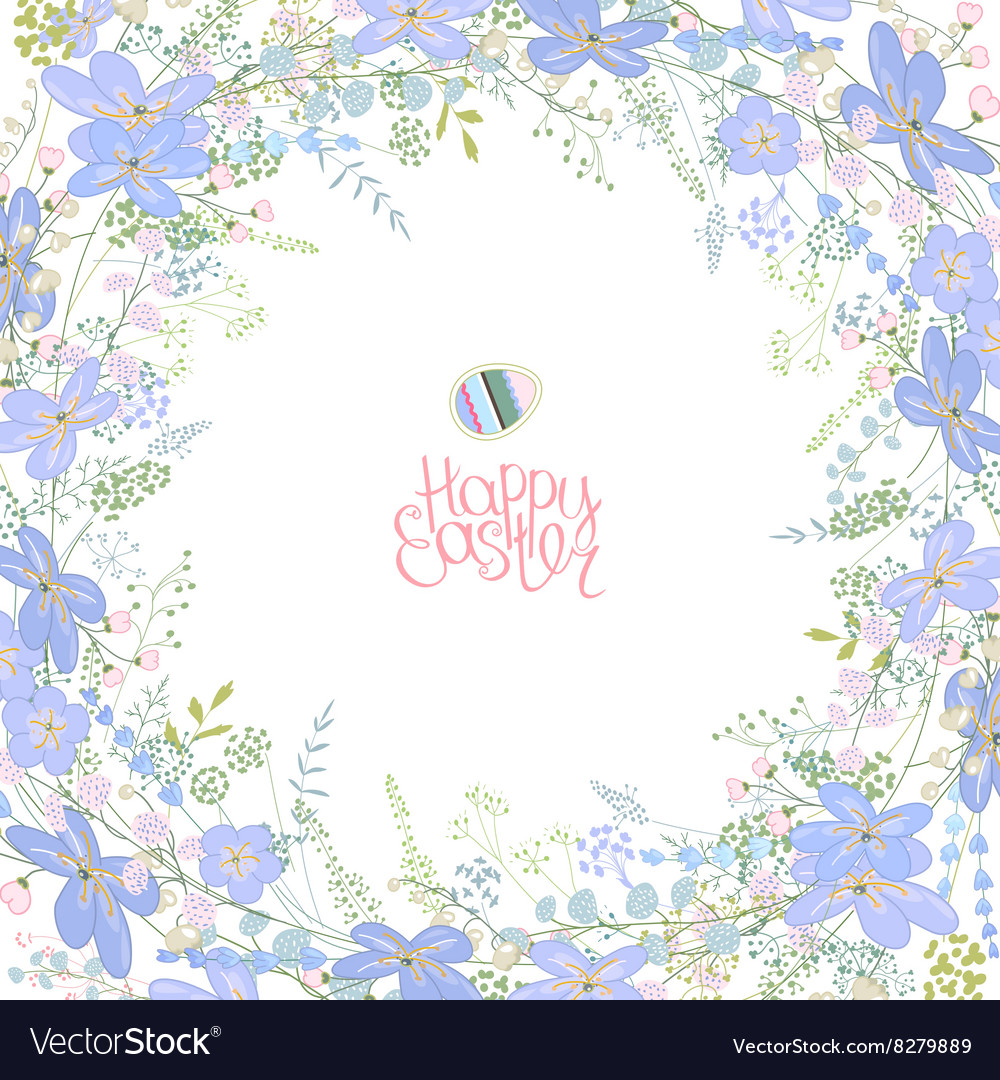 Spring frame with contour blue flowers and herbs vector image