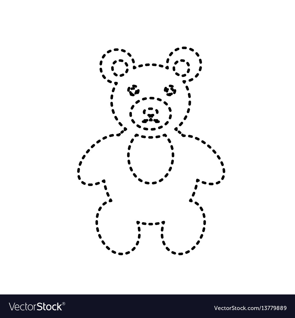 Teddy bear sign black dashed