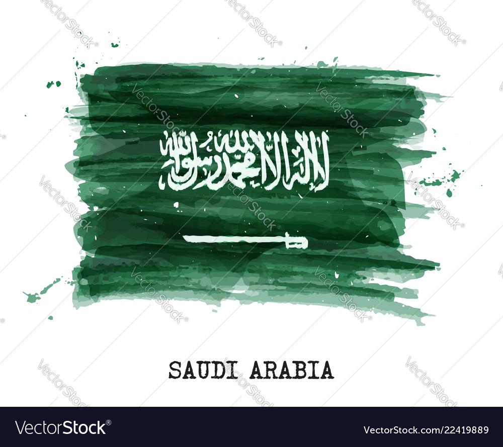 Watercolor painting flag of saudi arabia