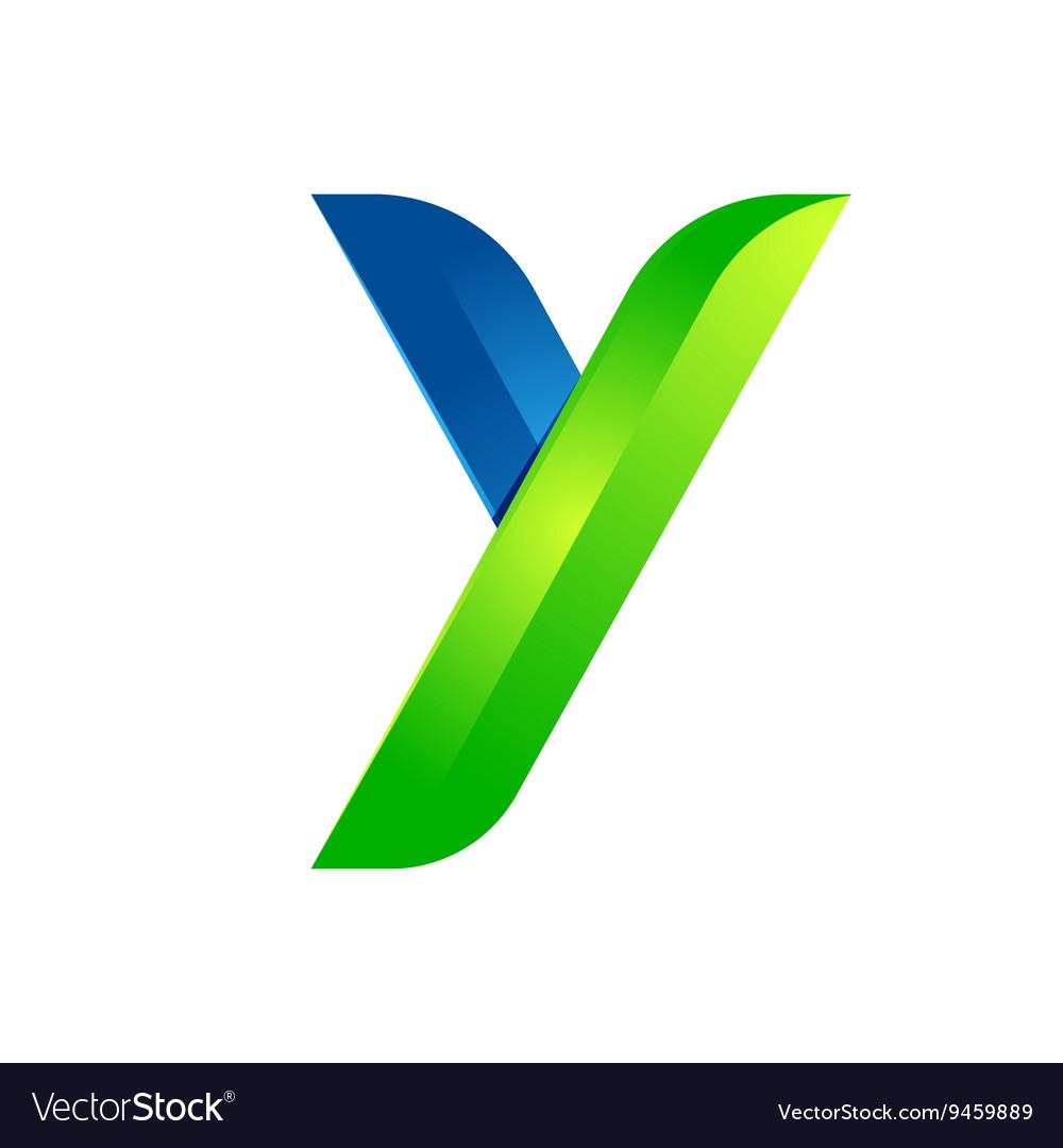 Y letter leaves eco logo volume icon