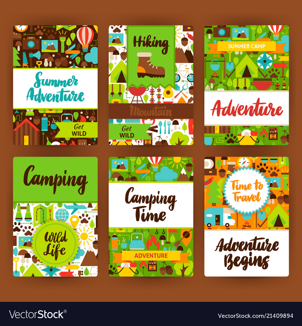 camping invitation template set royalty free vector image