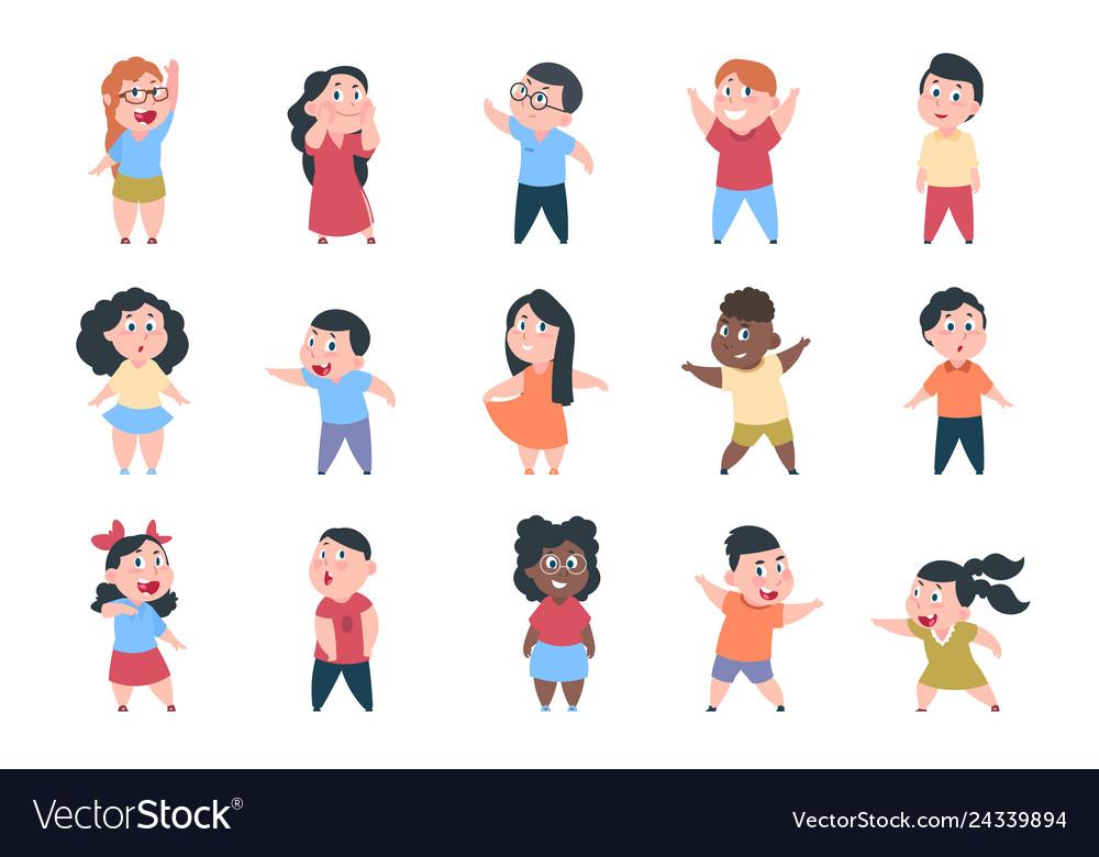 Cartoon children boy and girl school characters