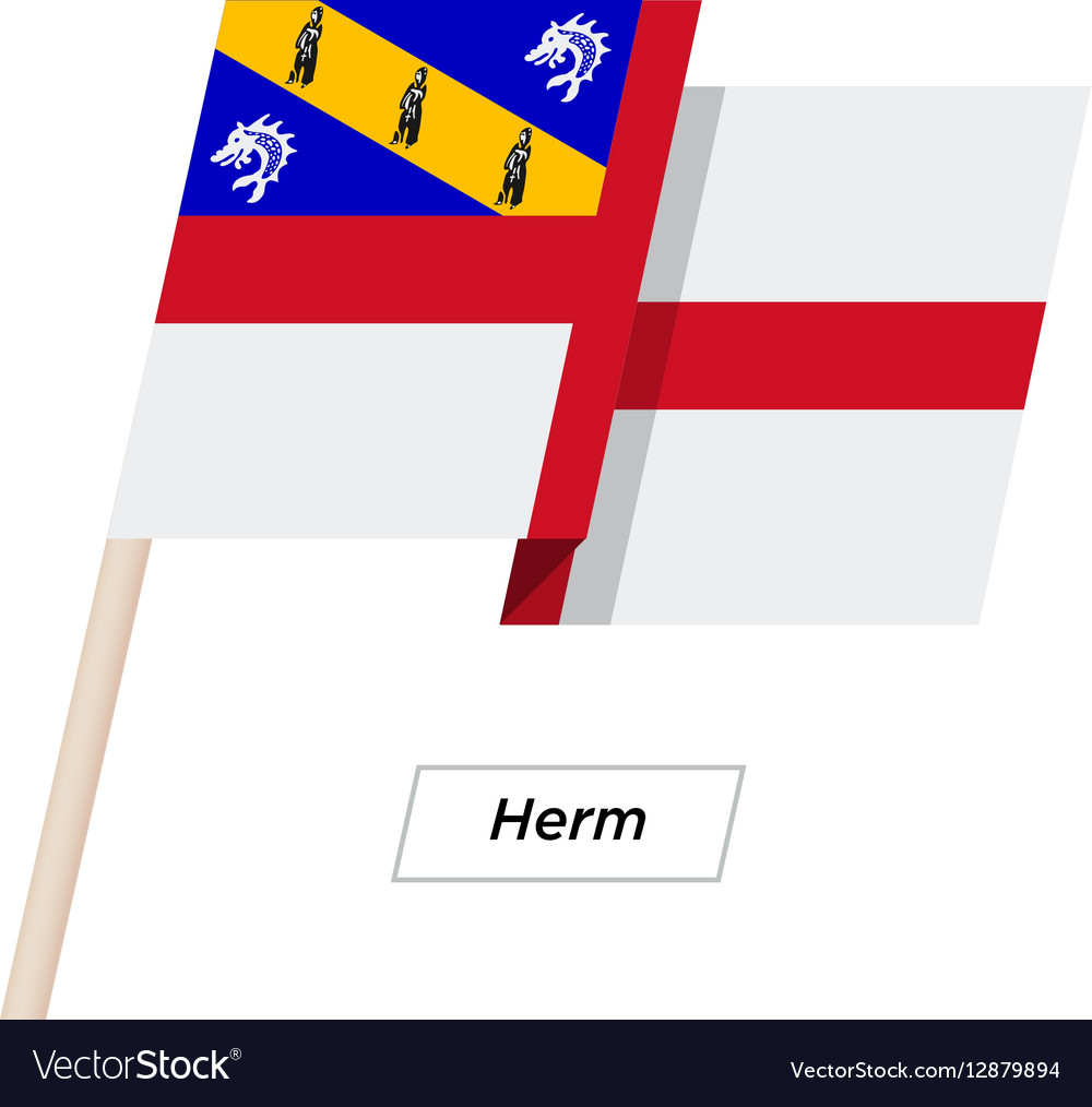 Herm Ribbon Waving Flag Isolated on White vector image