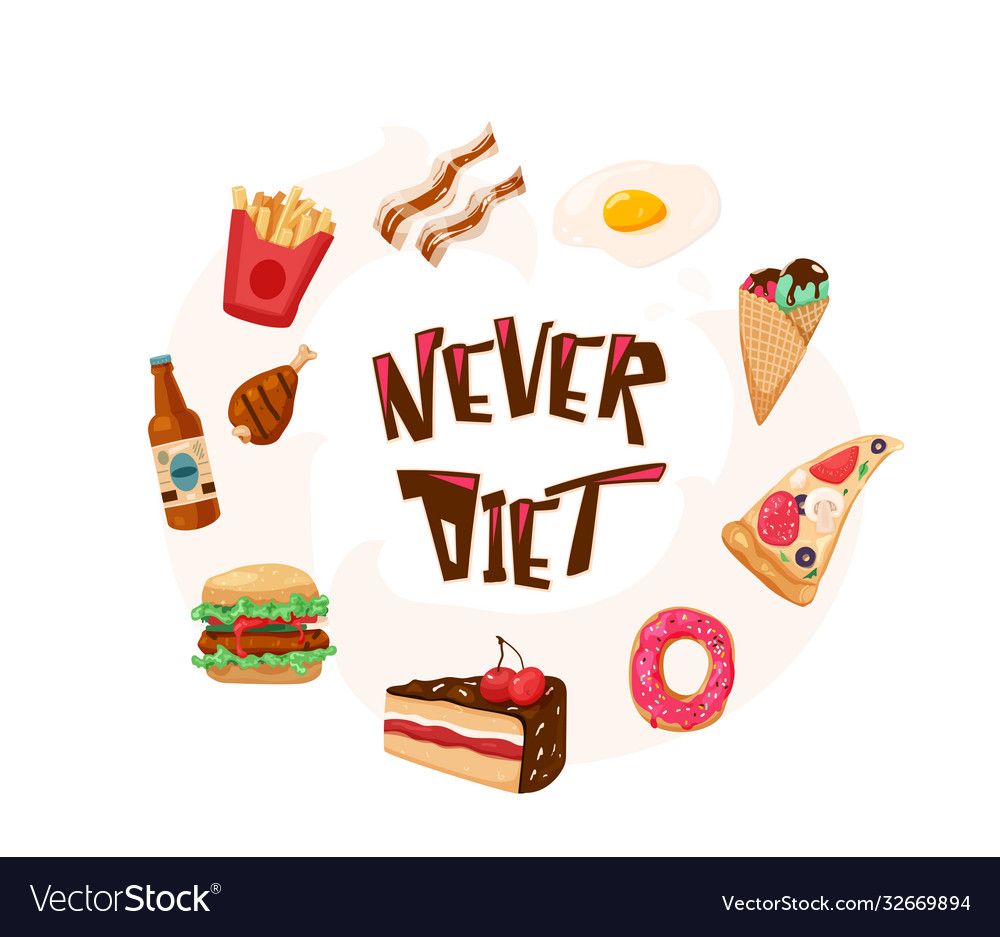 Never diet fun with text quote