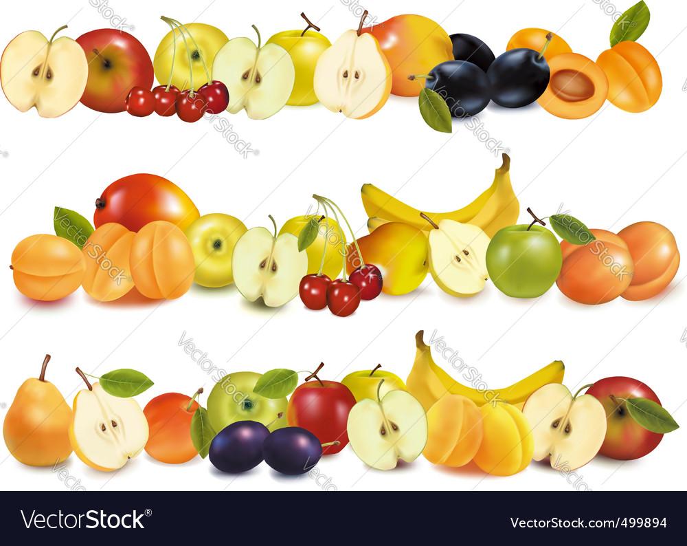 Set of fruit backgrounds vector image