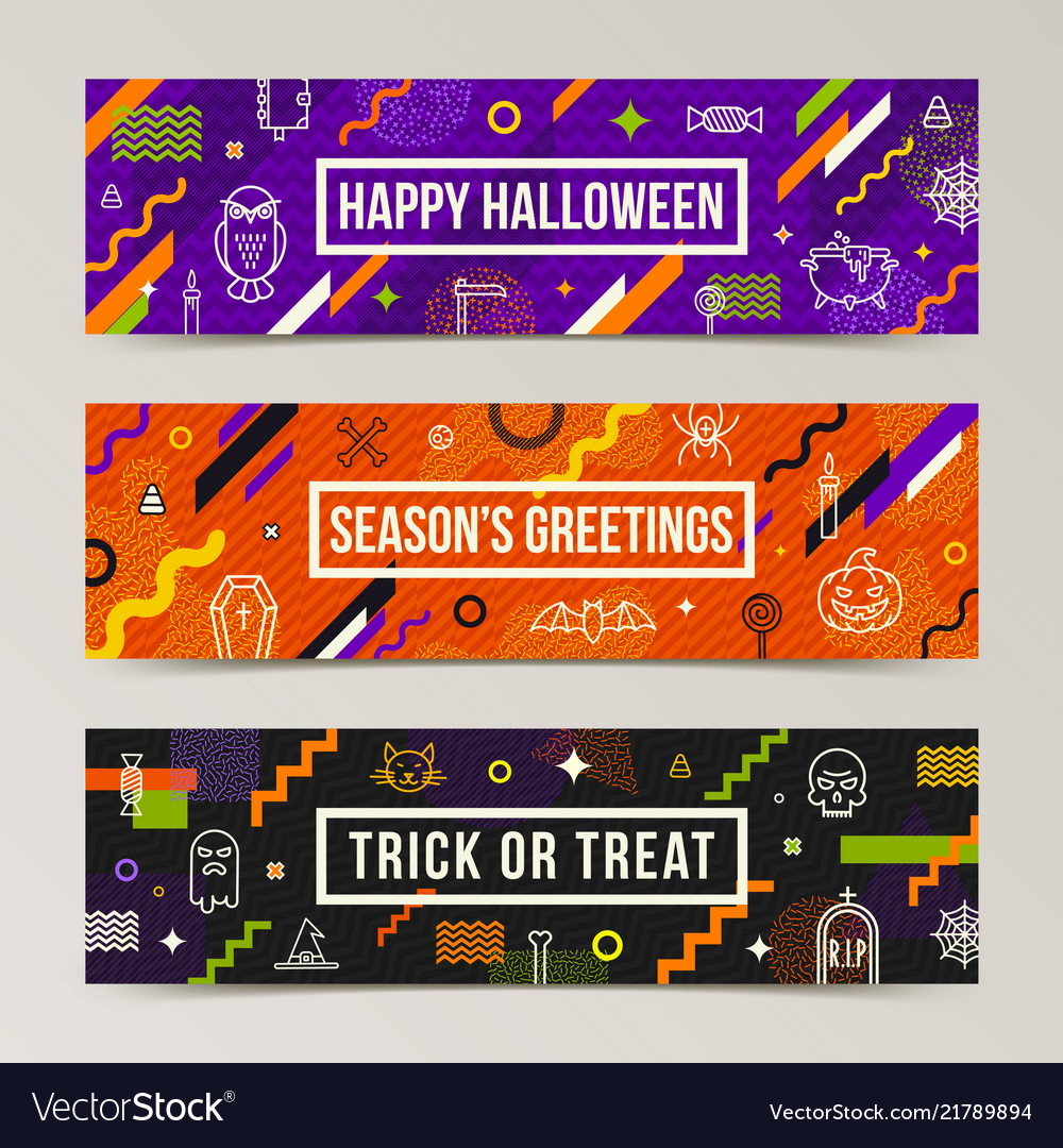 Set of halloween greeting banners
