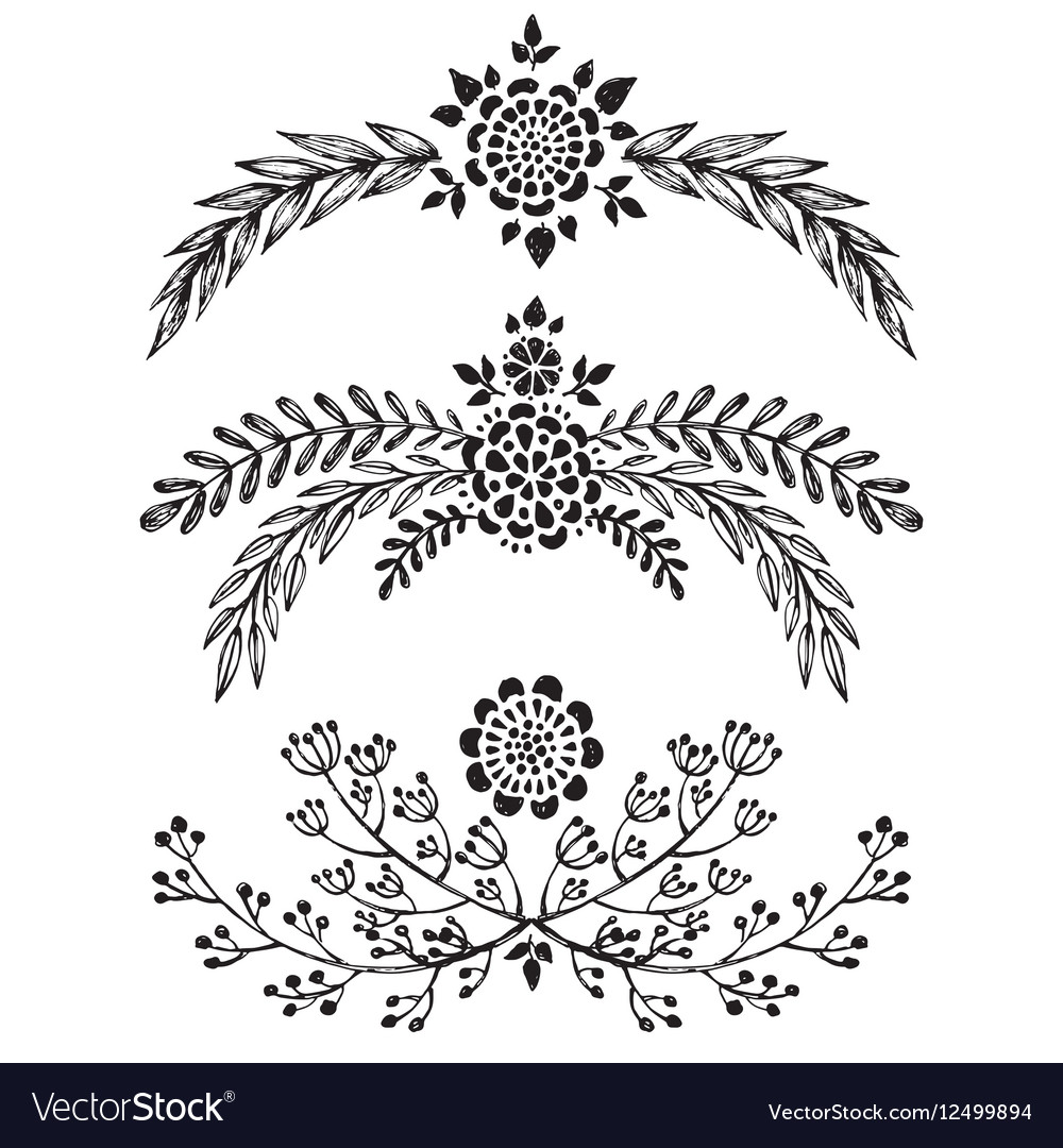 Set of hand drawn floral branches
