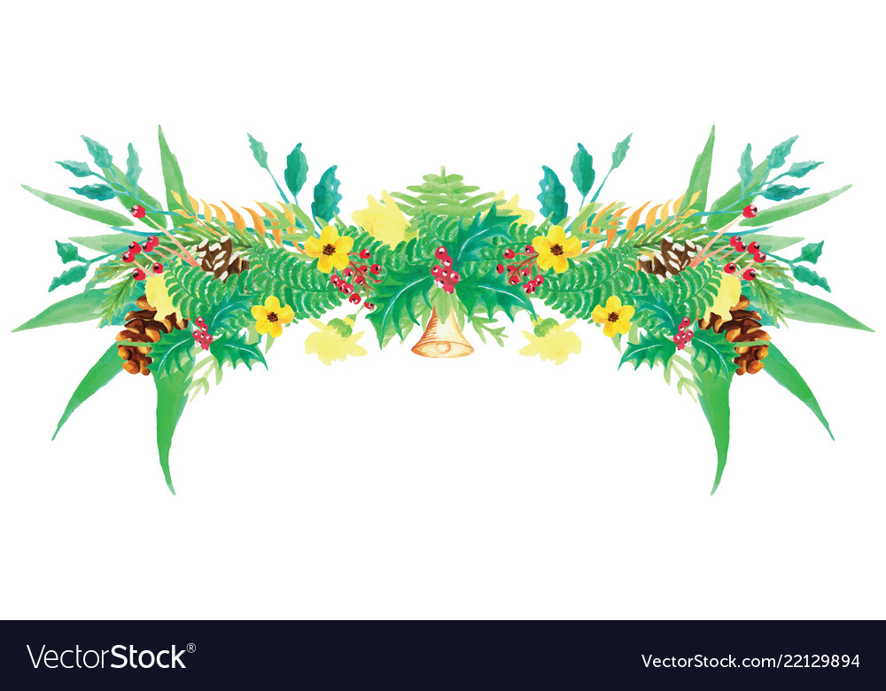Watercolor wreath christmas beautiful floral