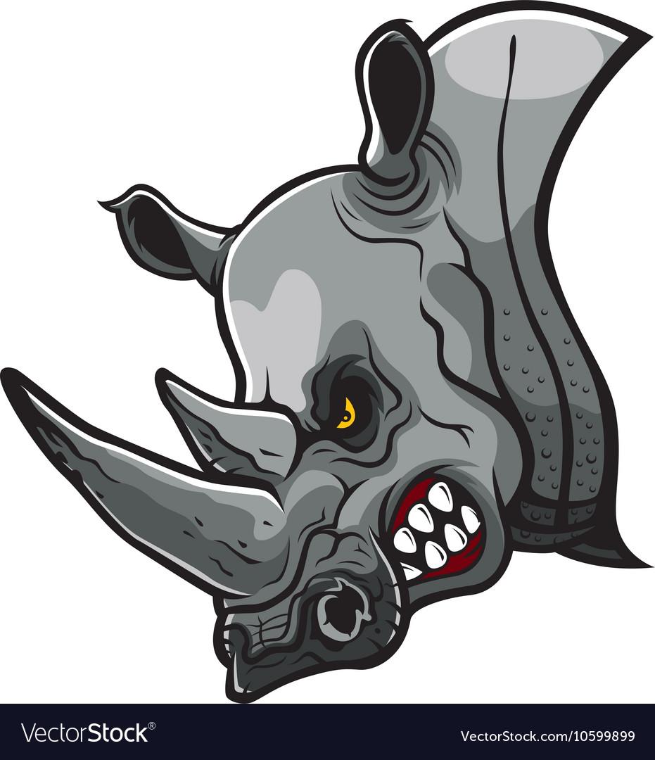 Angry Rhino Head vector image
