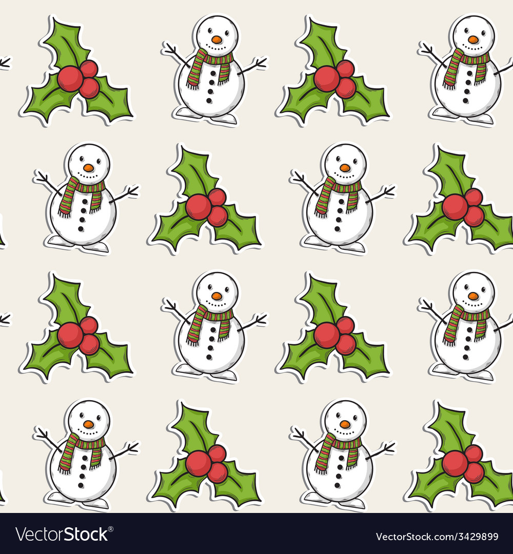 Christmas pattern with snowman