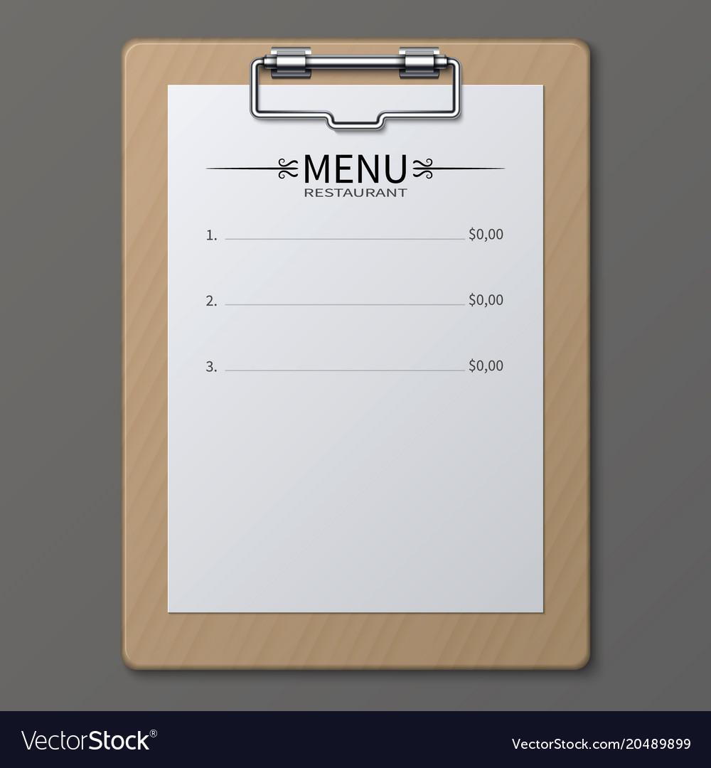 Classic restaurant menu on paper sheet in