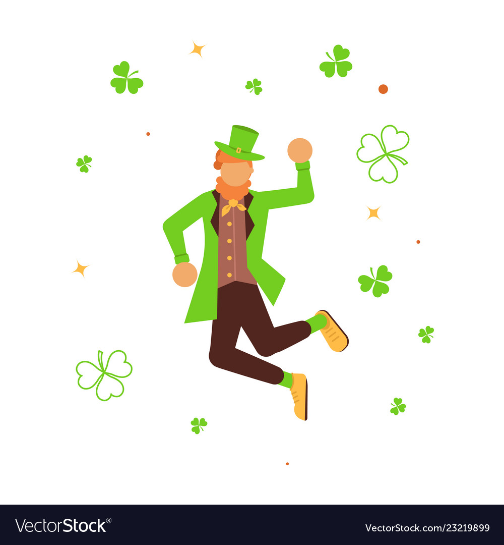Cute cartoon leprechaun dancing
