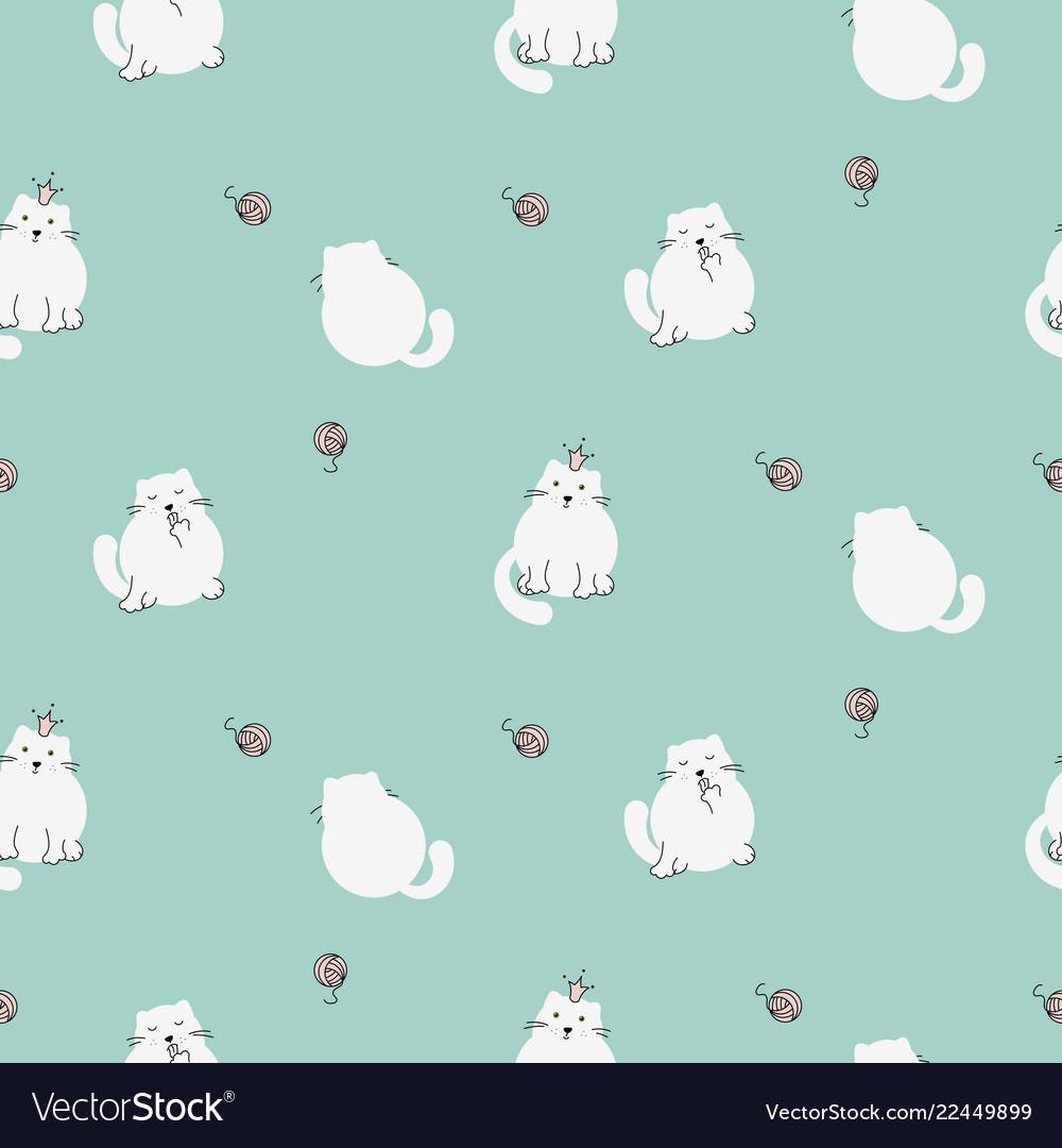 Cute kitty seamless pattern white cats on