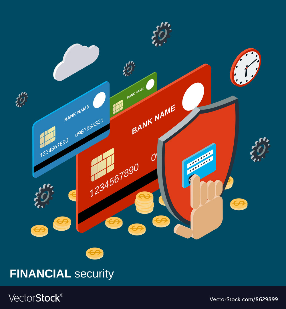 Financial security isometric concept
