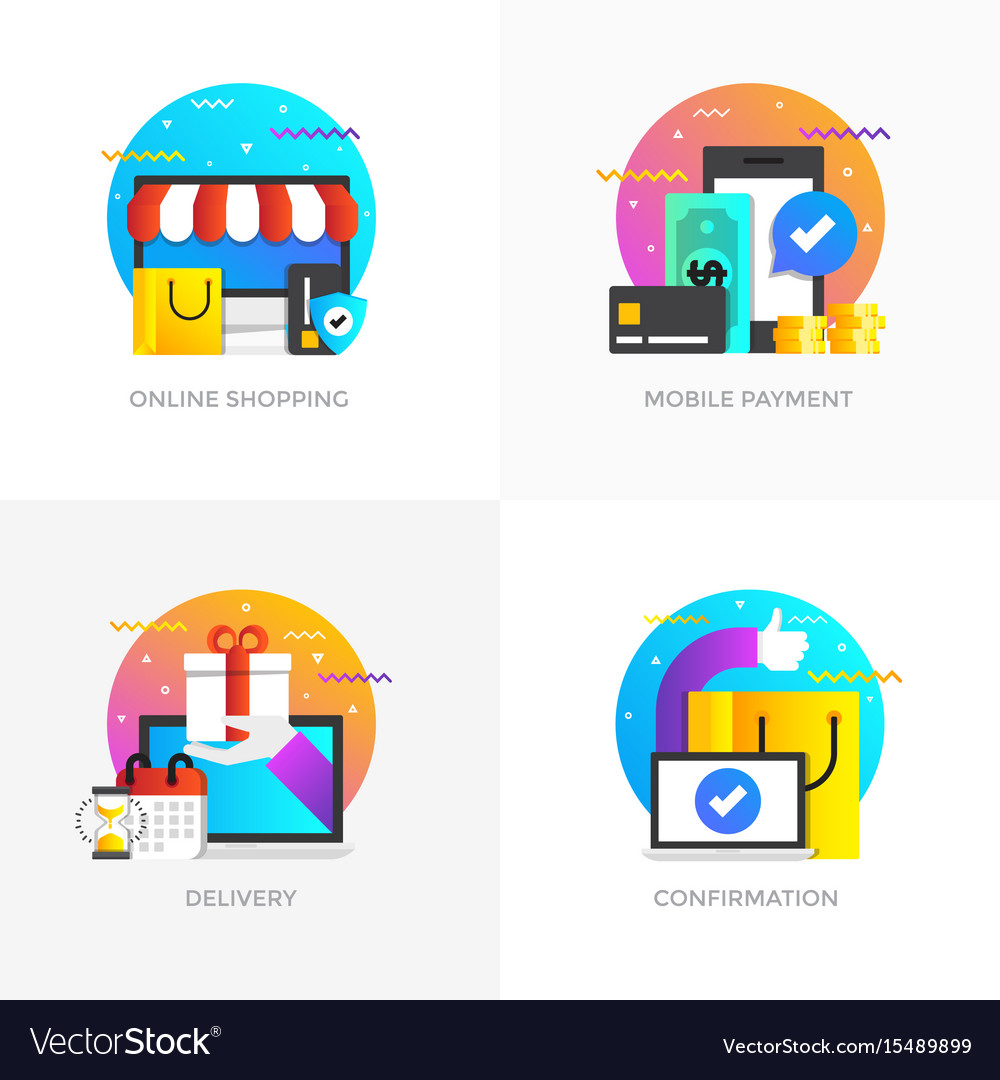 Flat designed concepts - colored 5 vector image
