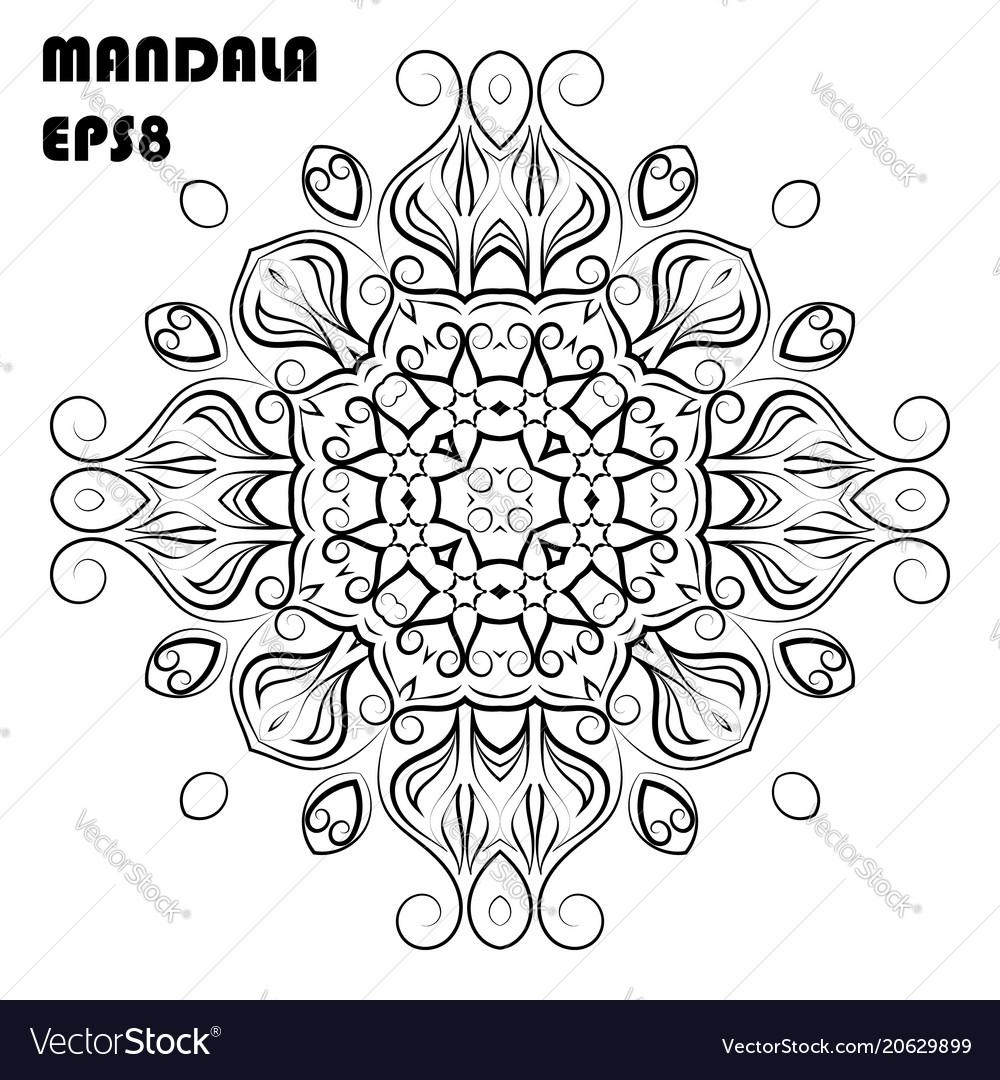 Flower mandala coloring book element