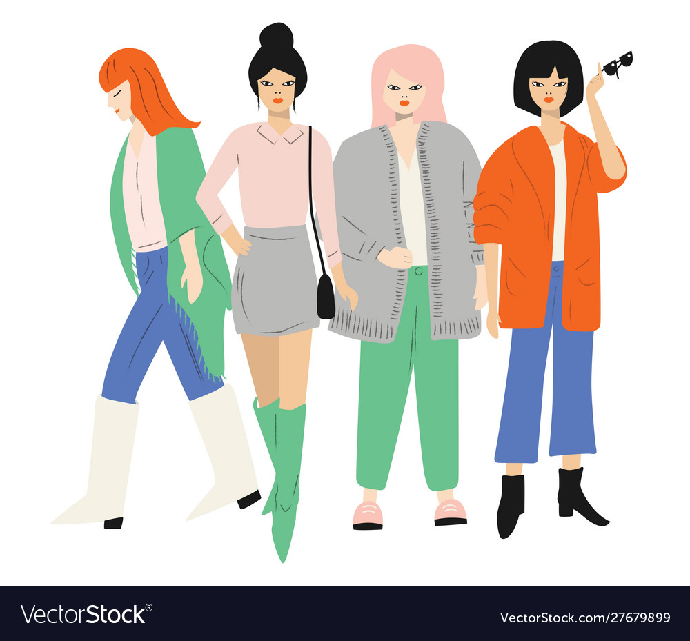 Four young women in autumn clothes standing