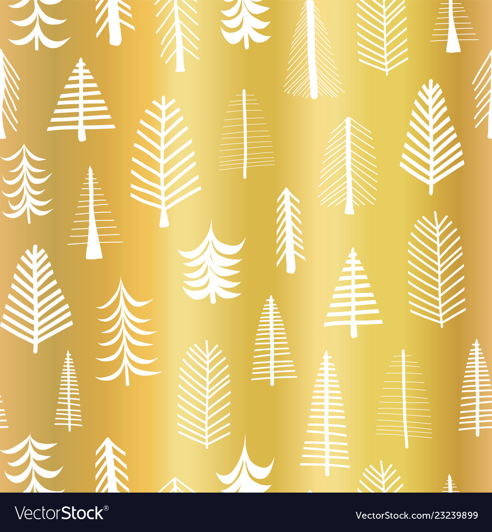 Foil Christmas Tree.Gold Foil Christmas Tree Seamless Pattern Vector Image On Vectorstock