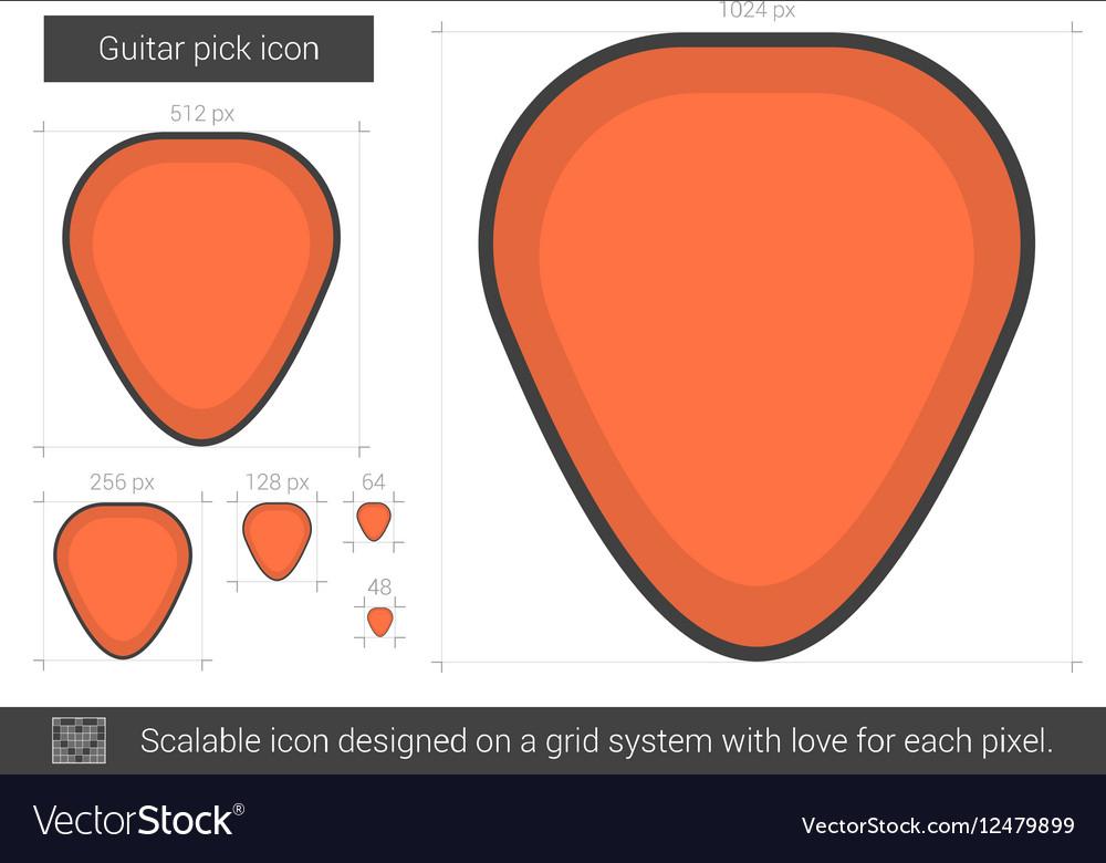 Guitar pick line icon