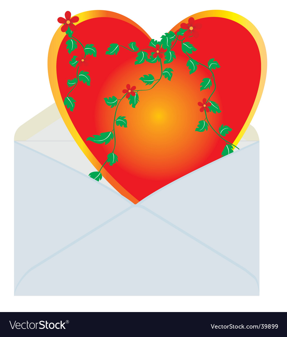 Heart in the mail envelope