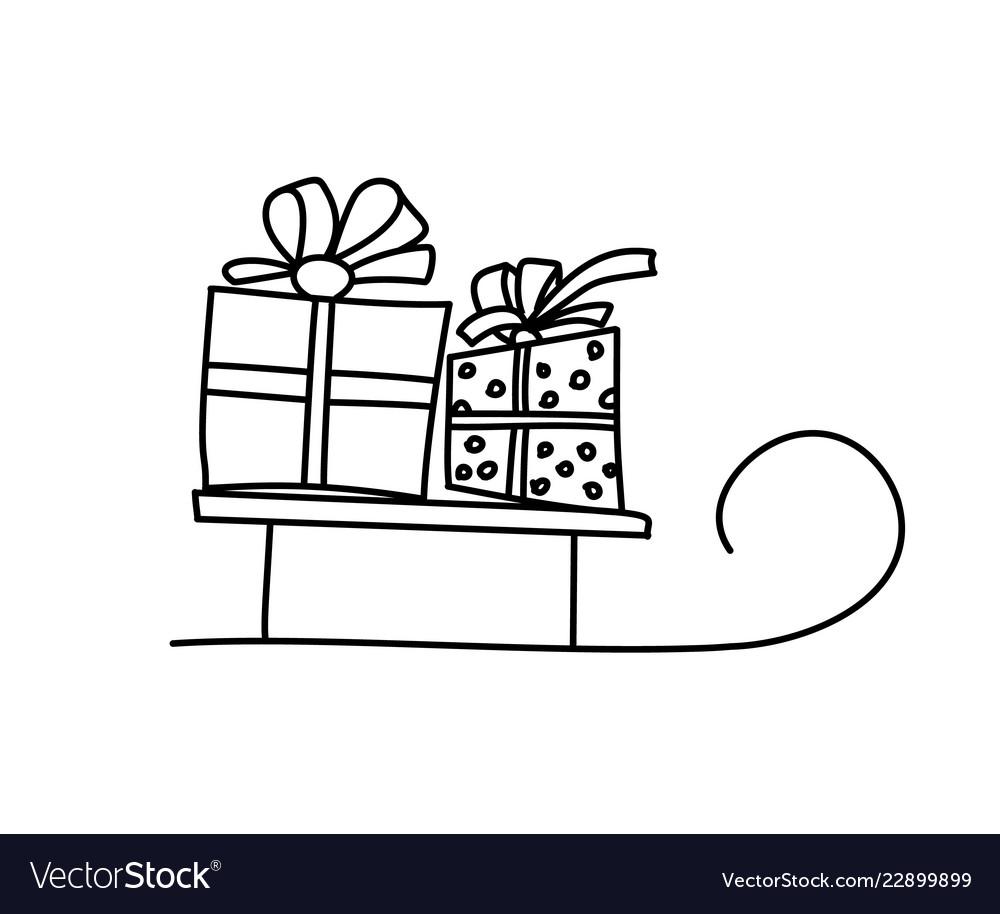 Merry christmas card concept santa sleigh with