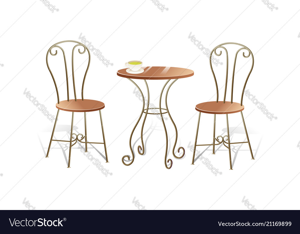 Romantic table and chair isolated on white