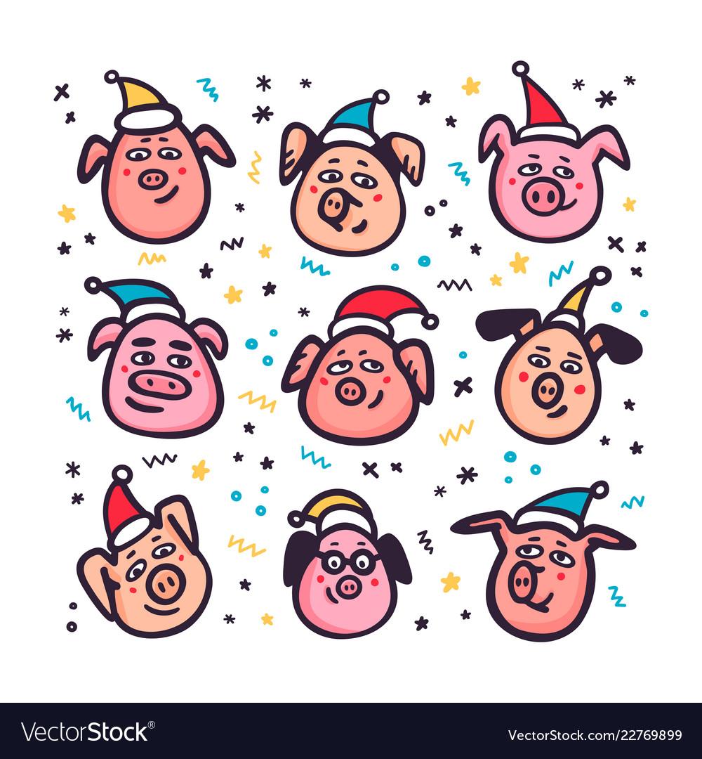 Santa pigs funny pigs with santa hats 2019