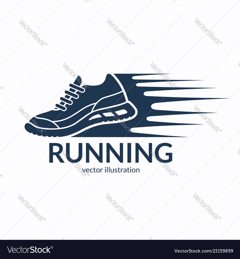 Speeding running shoe icon symbol or logo
