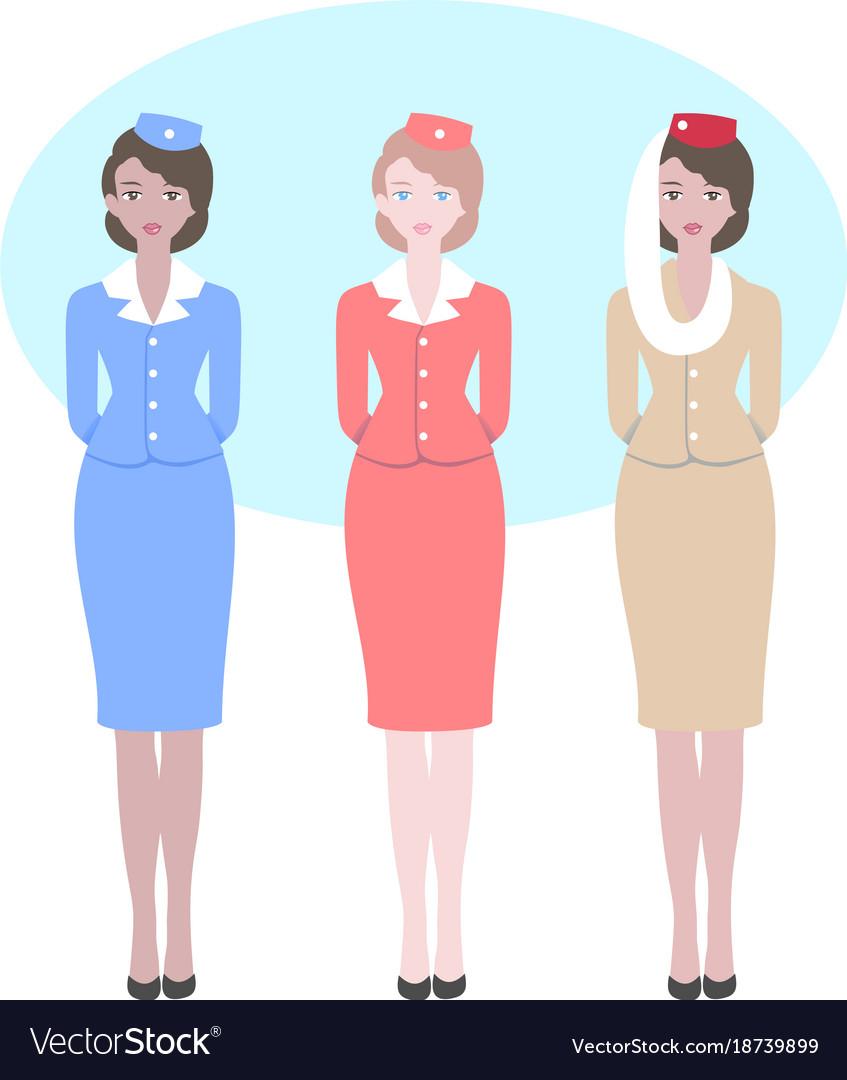 Stewardess in different national uniform
