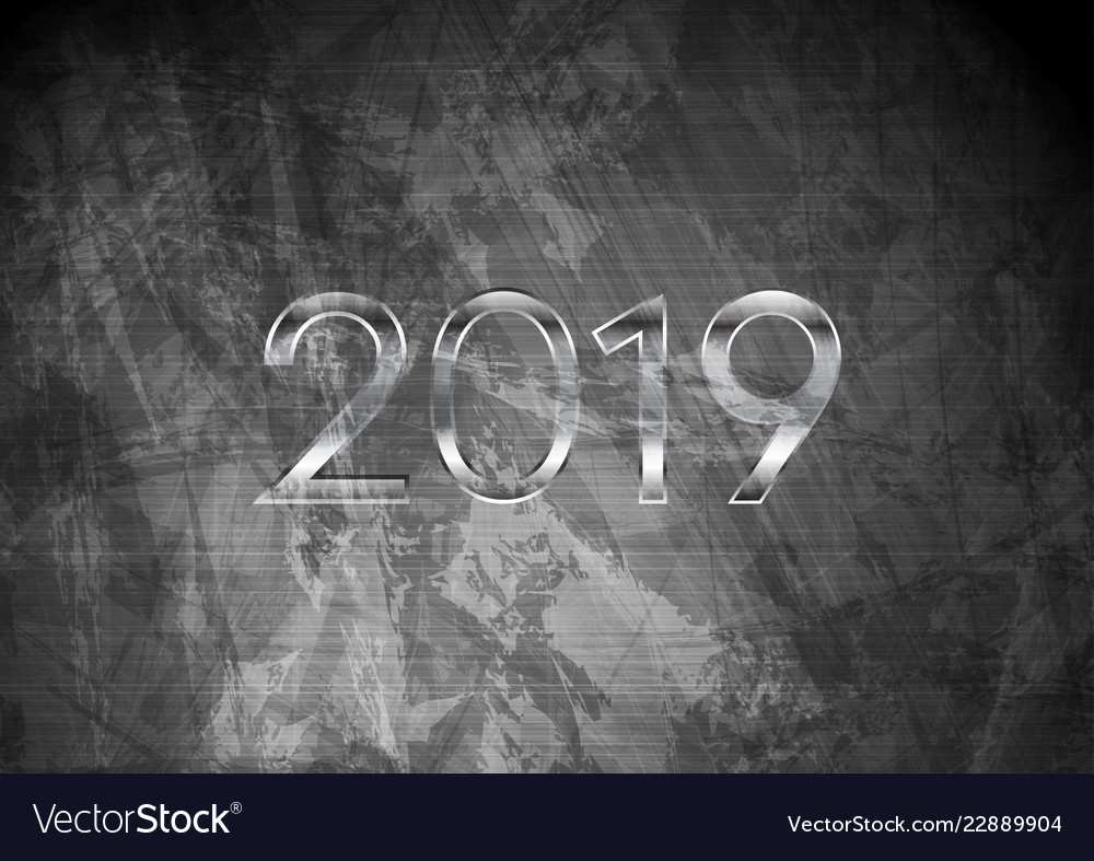 2019 new year on dark grey grunge wall background vector image