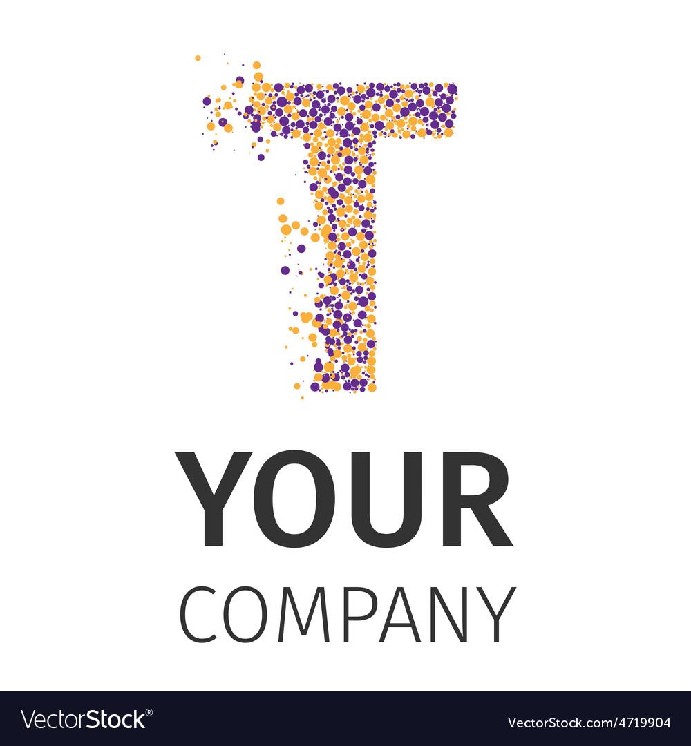 Alphabet particles logotype Letter-T