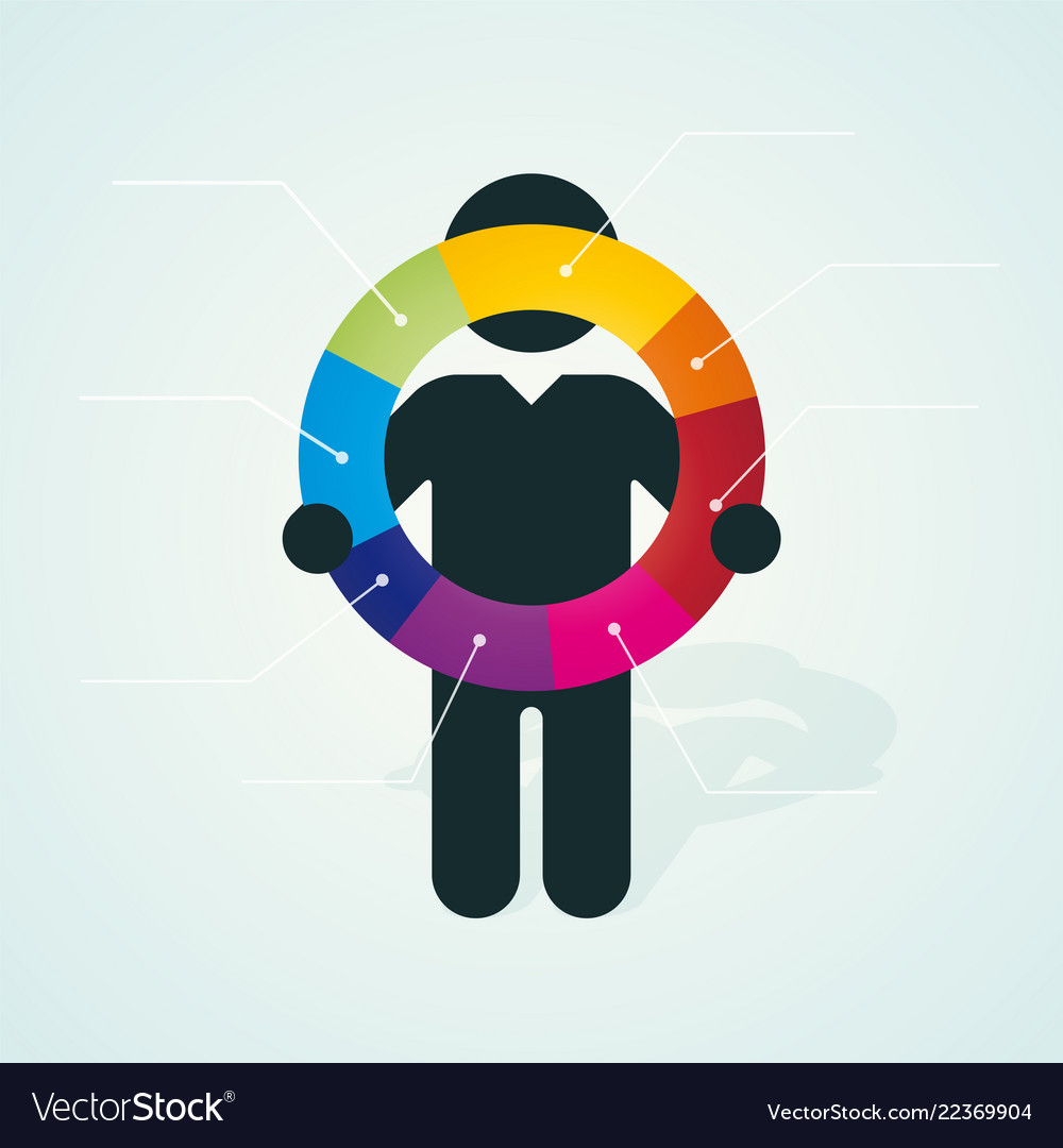 Black silhouette of a man holds color pie chart