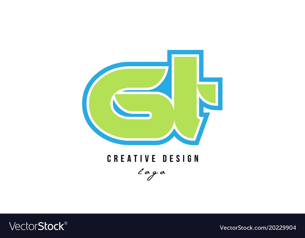 Blue green alphabet letter gt g t logo icon design