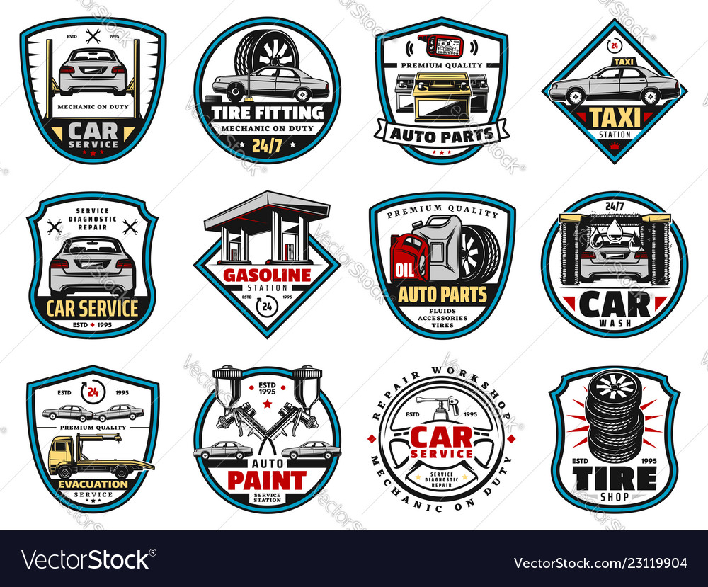 Car spare parts and motor oil tire battery icons