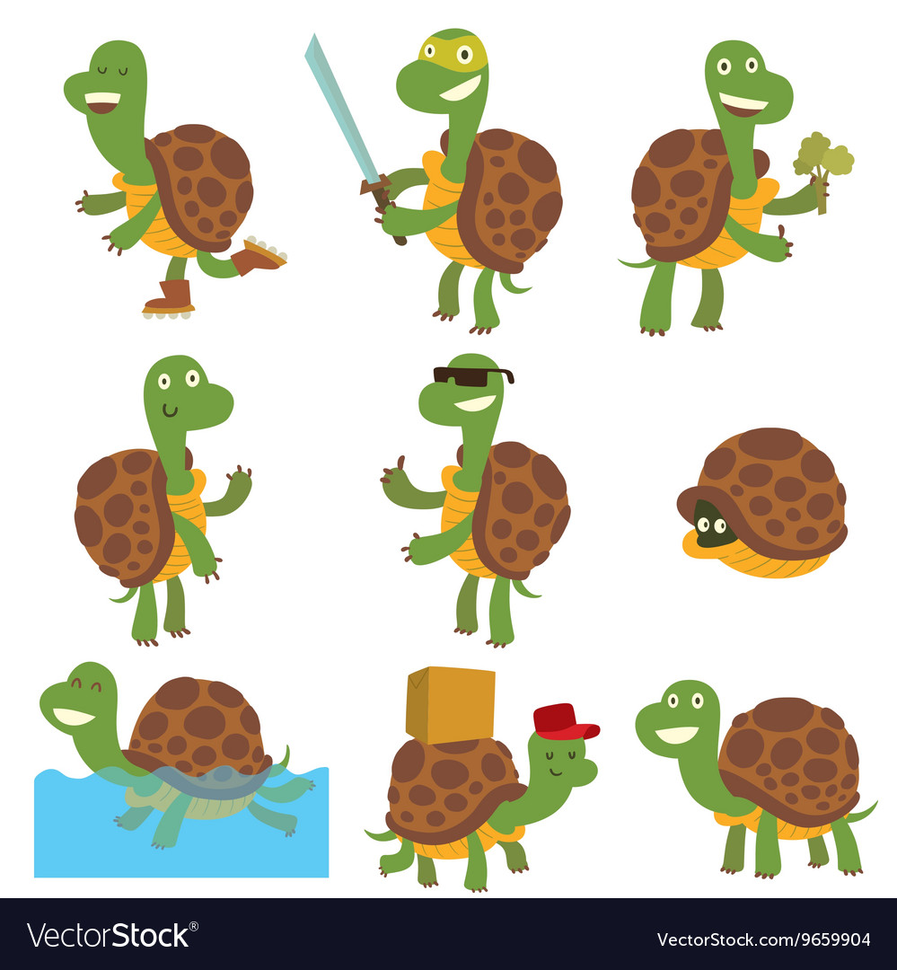 Cartoon turtles set