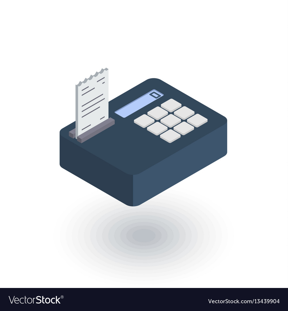 Cash register isometric flat icon 3d