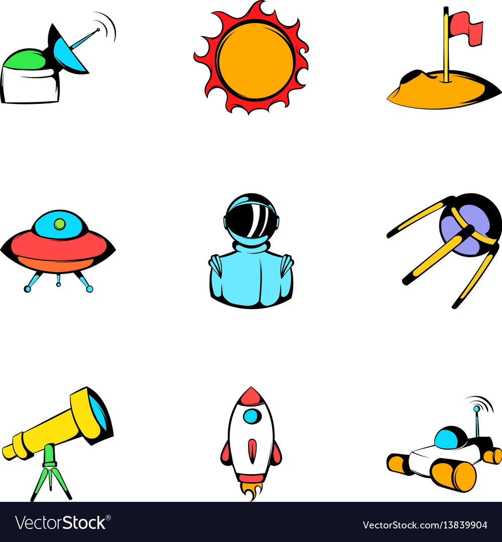 Cosmos icons set cartoon style