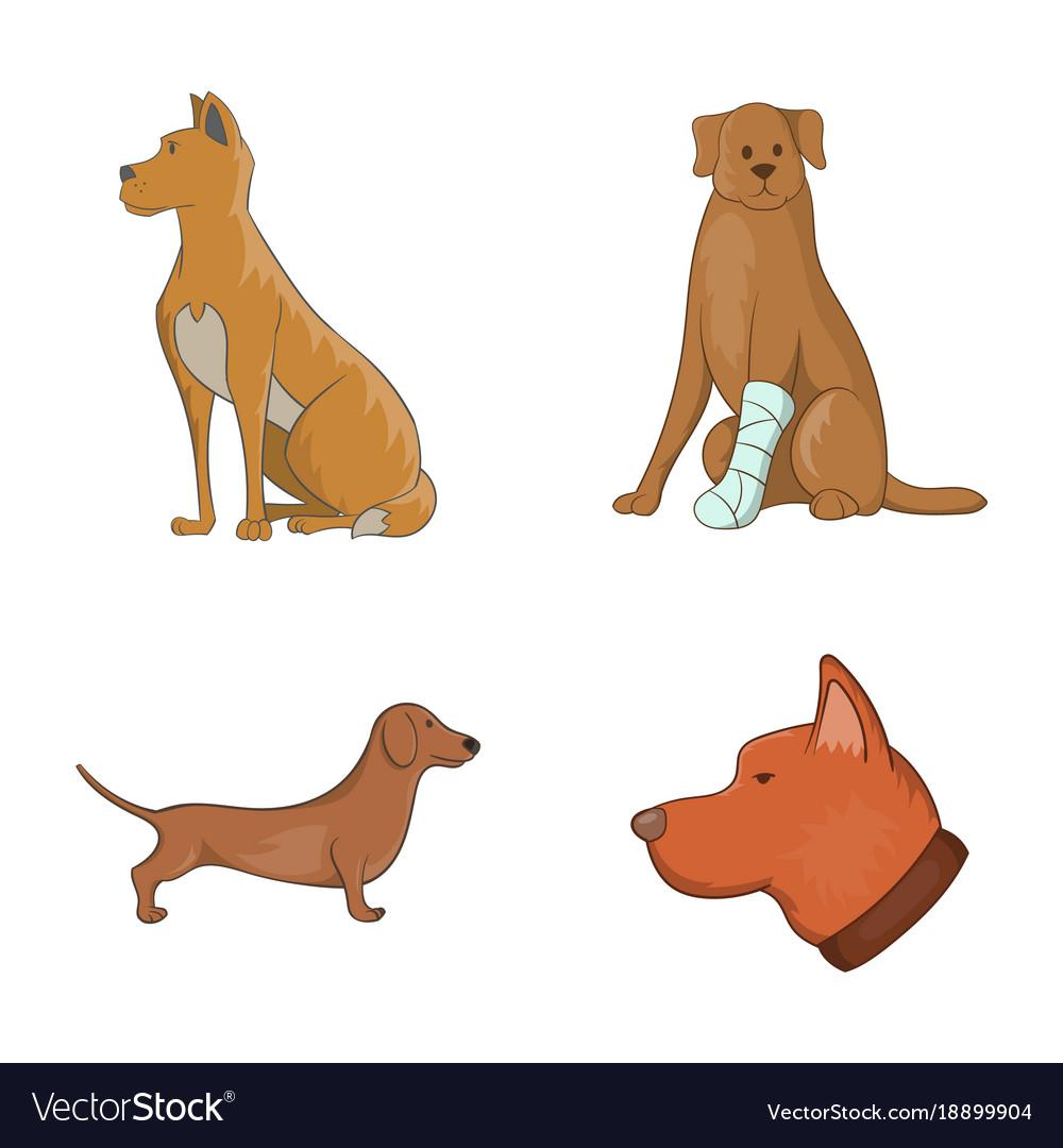 Dog icon set cartoon style