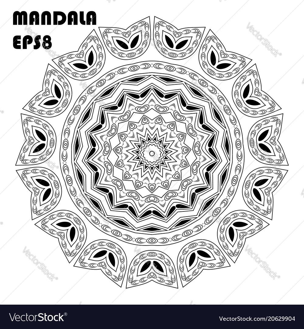 Flower mandala coloring book element Royalty Free Vector