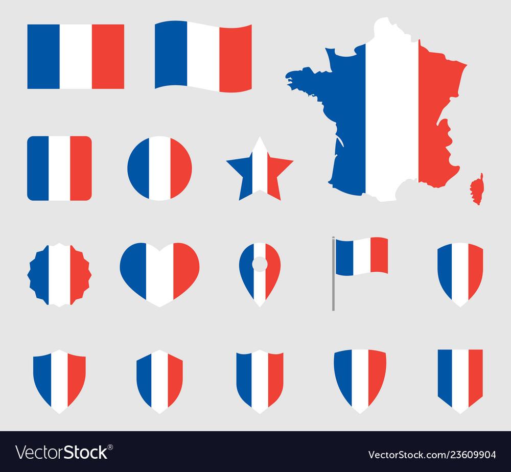 France flag icons set french flag symbol