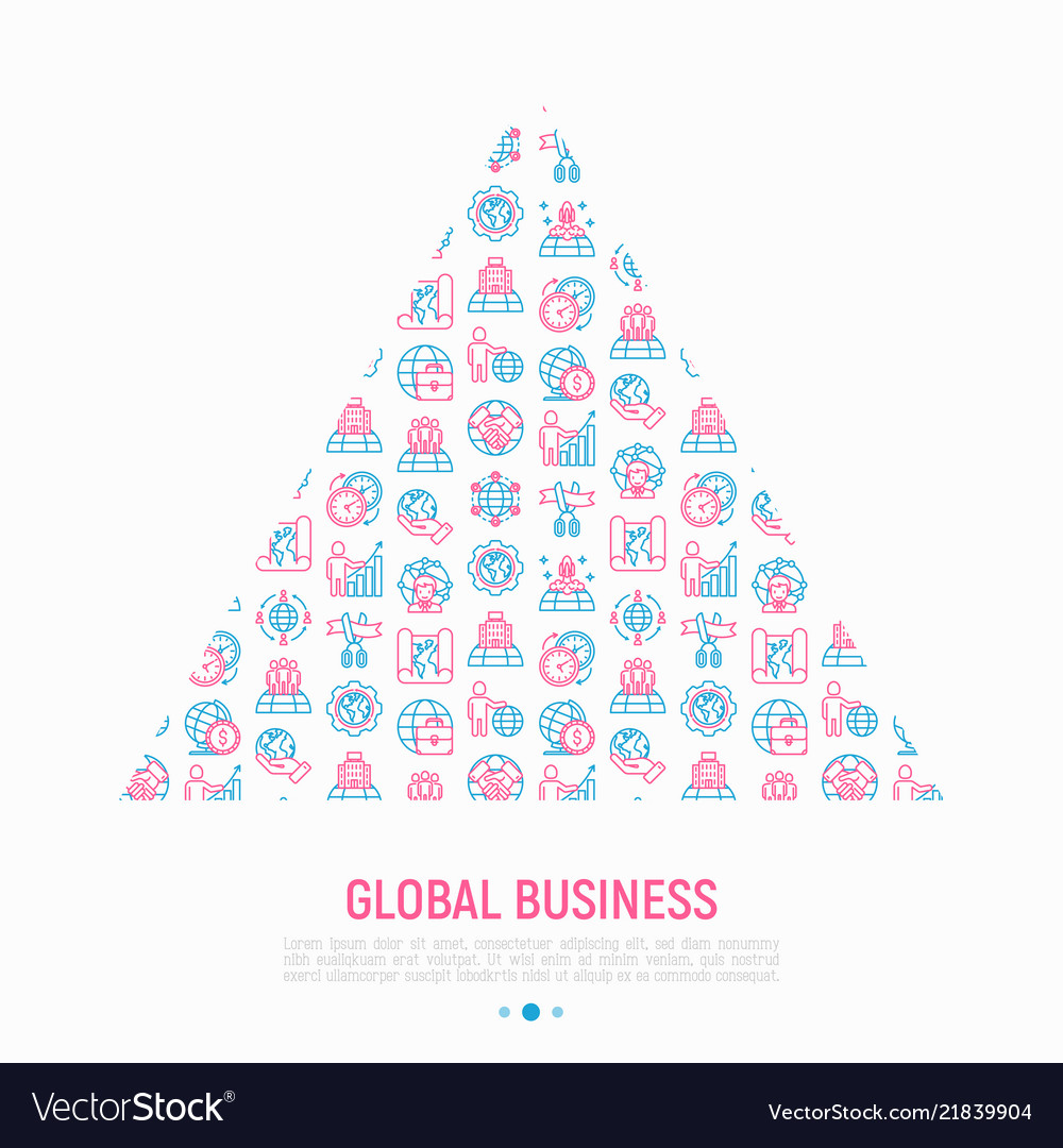 Global business concept in triangle