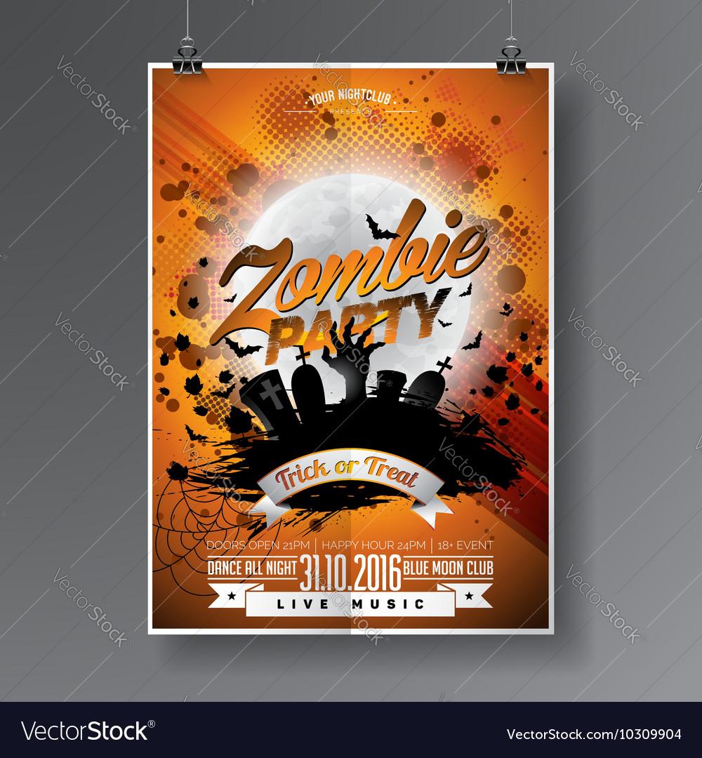 Halloween Zombie Party Flyer Design