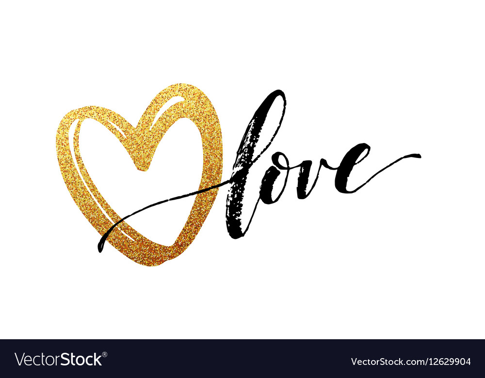 Happy Valentines Day hand lettering with golden vector image