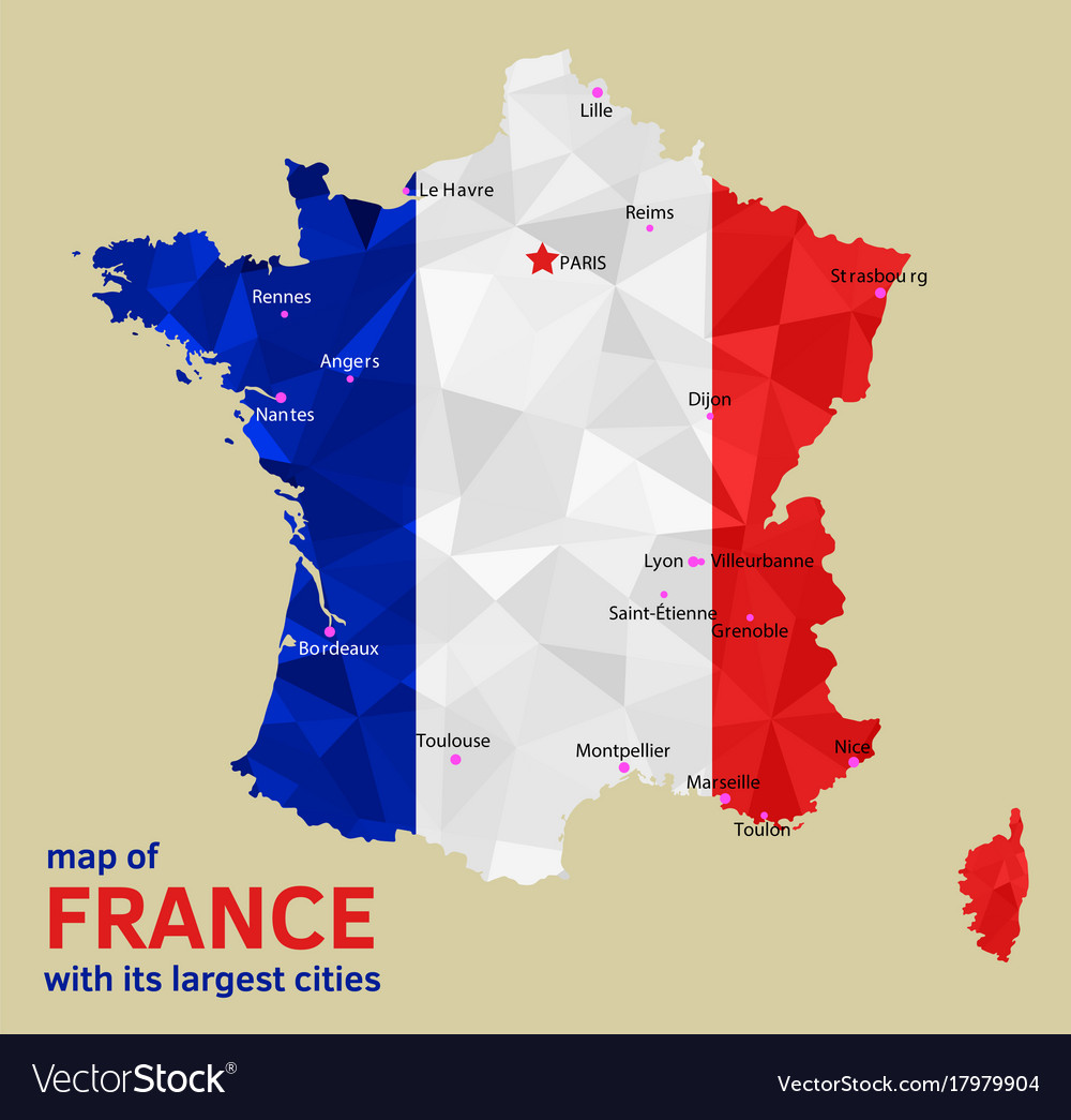Cities Of France Map.Map Of France And Its Largest Cities Royalty Free Vector