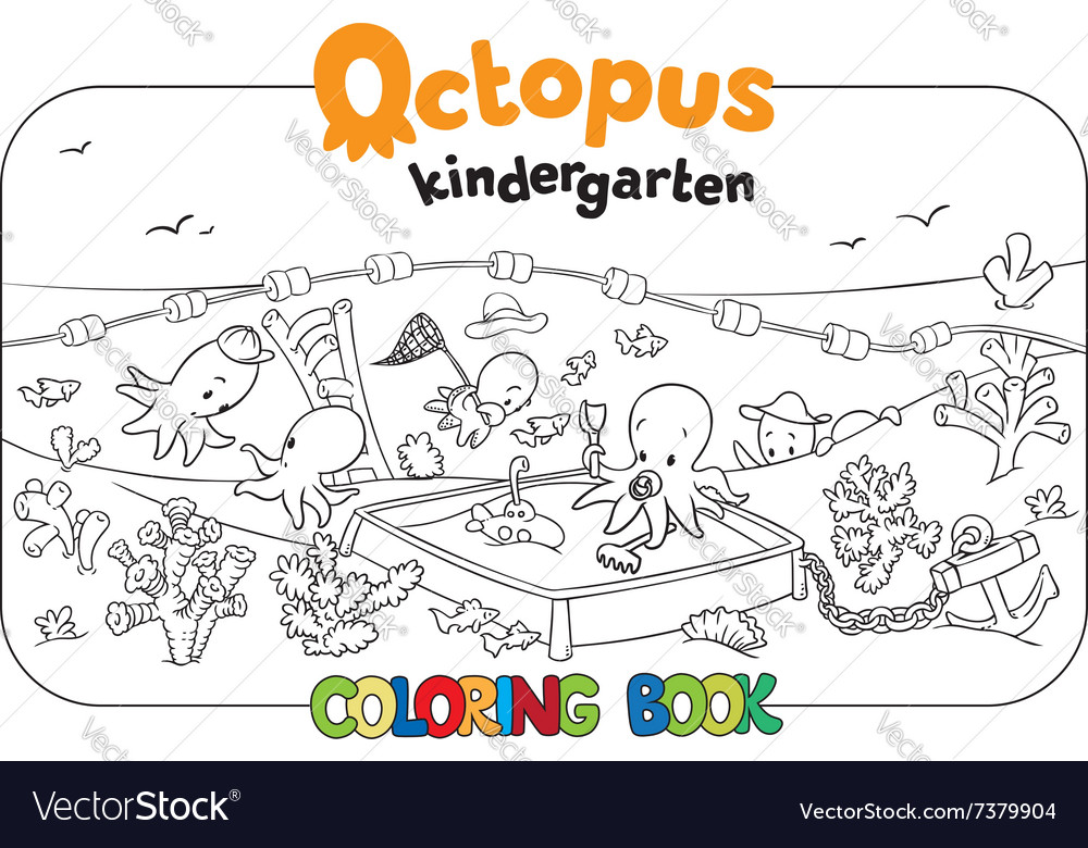 Octopus Kindergarten Coloring Book Royalty Free Vector Image