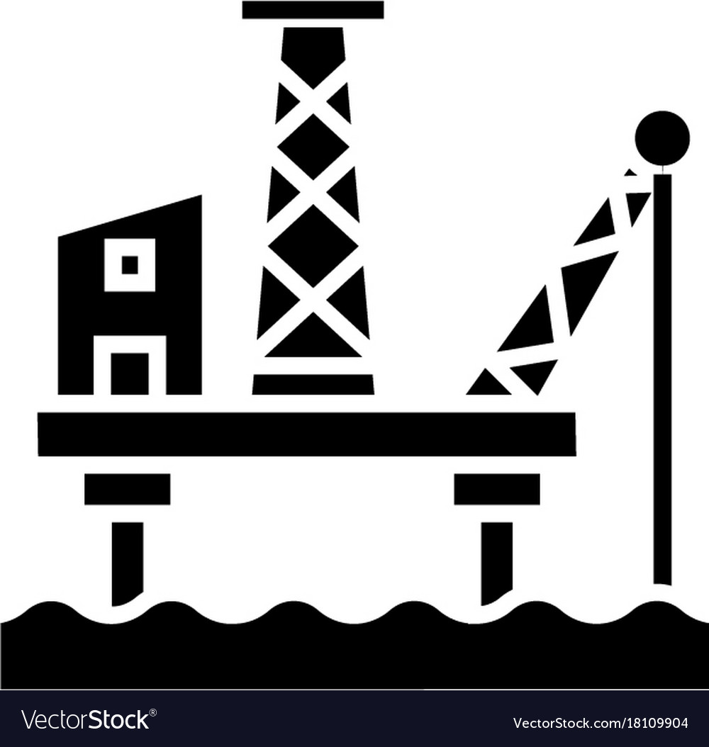 Oil platform icon black sign