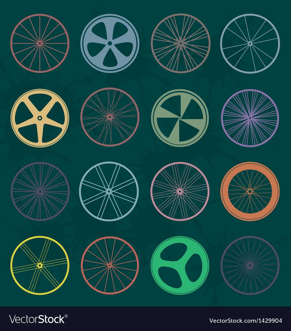 Retro Style Bike Wheel Silhouettes