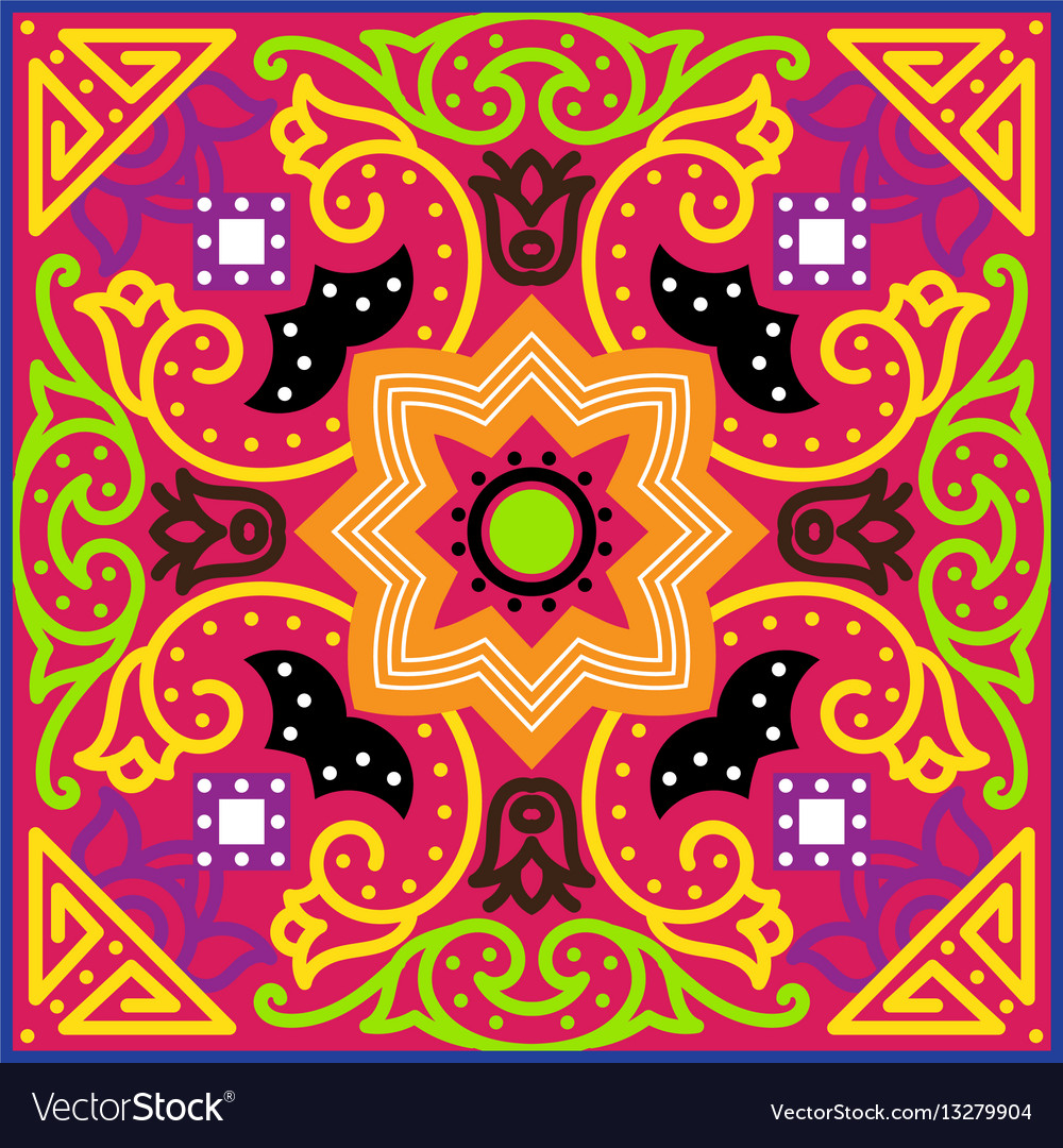 Talavera Tile Vibrant Mexican Seamless Pattern Vector Image - Discount mexican tile