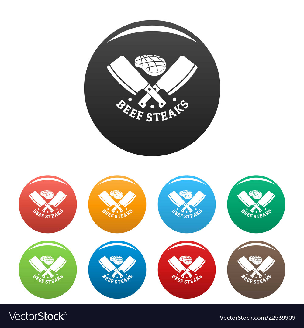 Beef bbq steaks icons set color