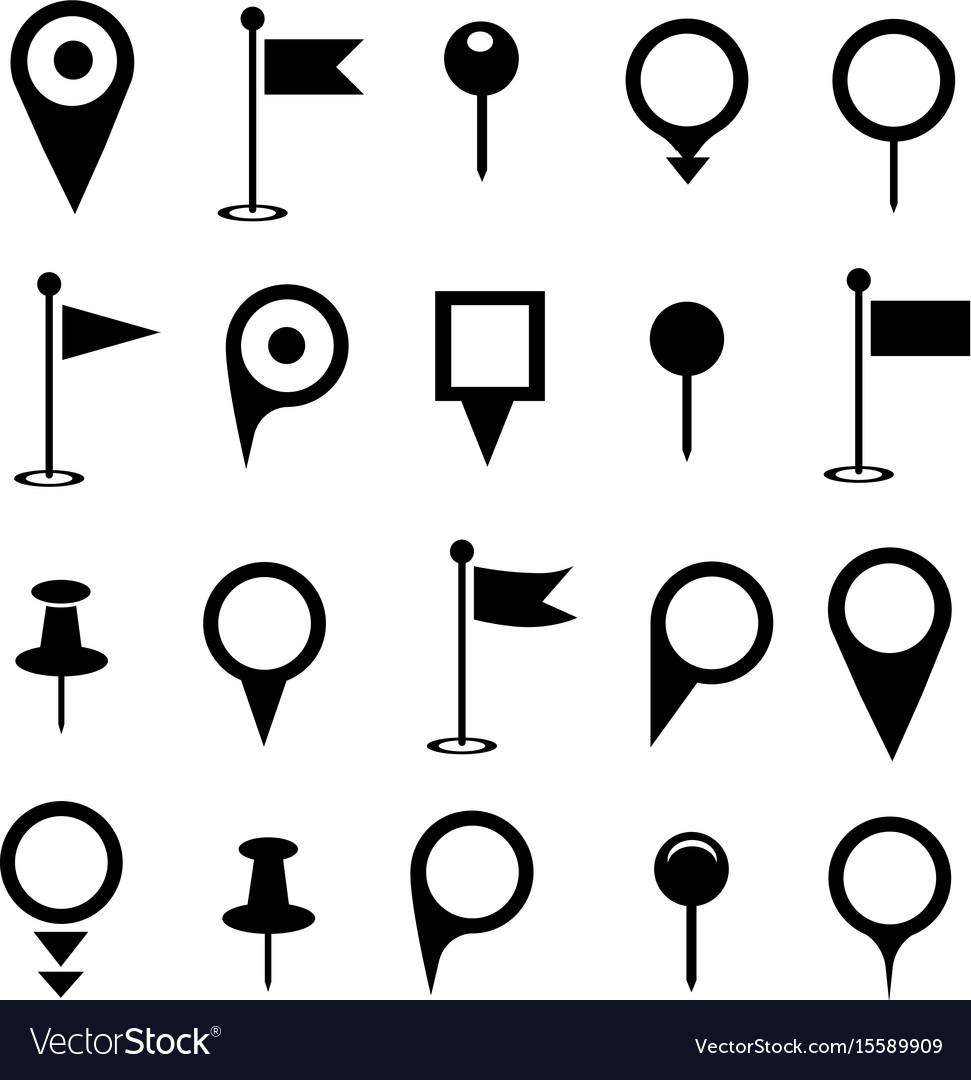 Black map pointer icons set on white